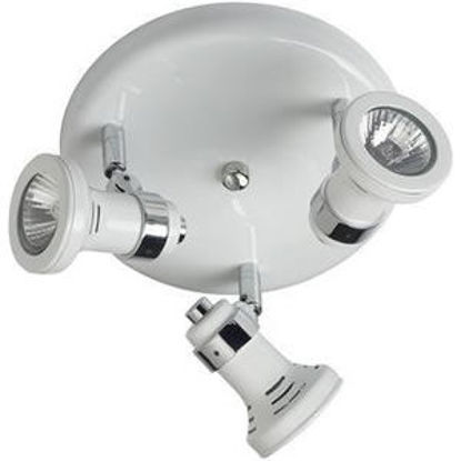 Picture of Three GU10 Surface Mounted Halogen Round Plate Spotlight with Classic Style Heads (350deg Rotatable)