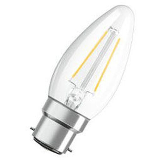Picture of Osram LED Classic B Candle Shape Filament 2.5W B22D Warm White Clear Lamps (Sold as 10)